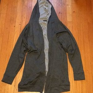 Long zip up over face gray hoodie